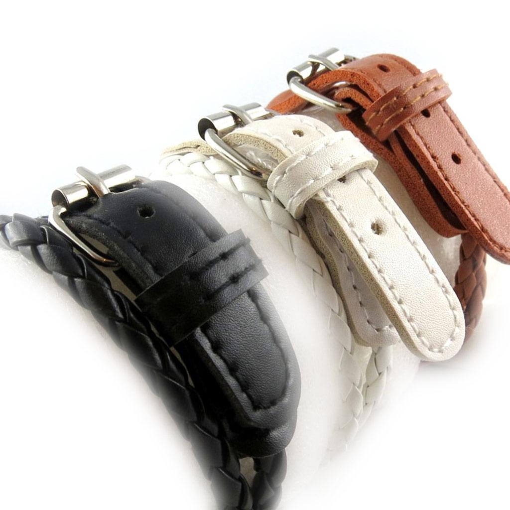 3 bracelets cuir \'Authentik\' marron noir blanc - [K6955]