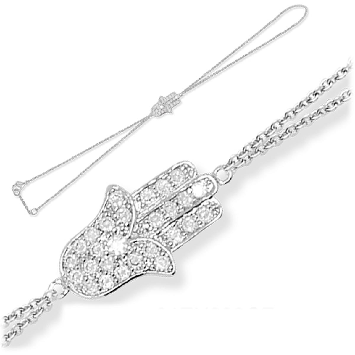Bracelet bague argent \'Fatma\' blanc argenté (rhodié) - 17x10 mm - [J8636]