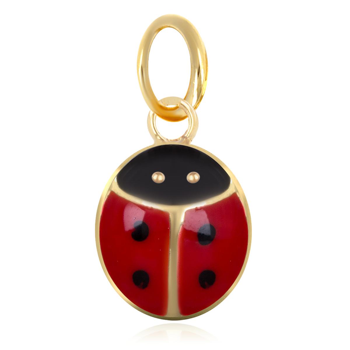 Pendentif plaqué or \'Coccinelle\' rouge doré - 9x7 mm - [M6990]