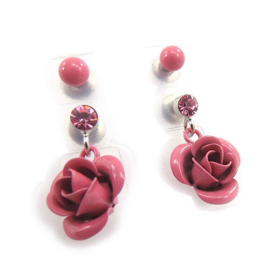 2 paires de boucles \'Rosa Romantica\' rose  - [J8663]