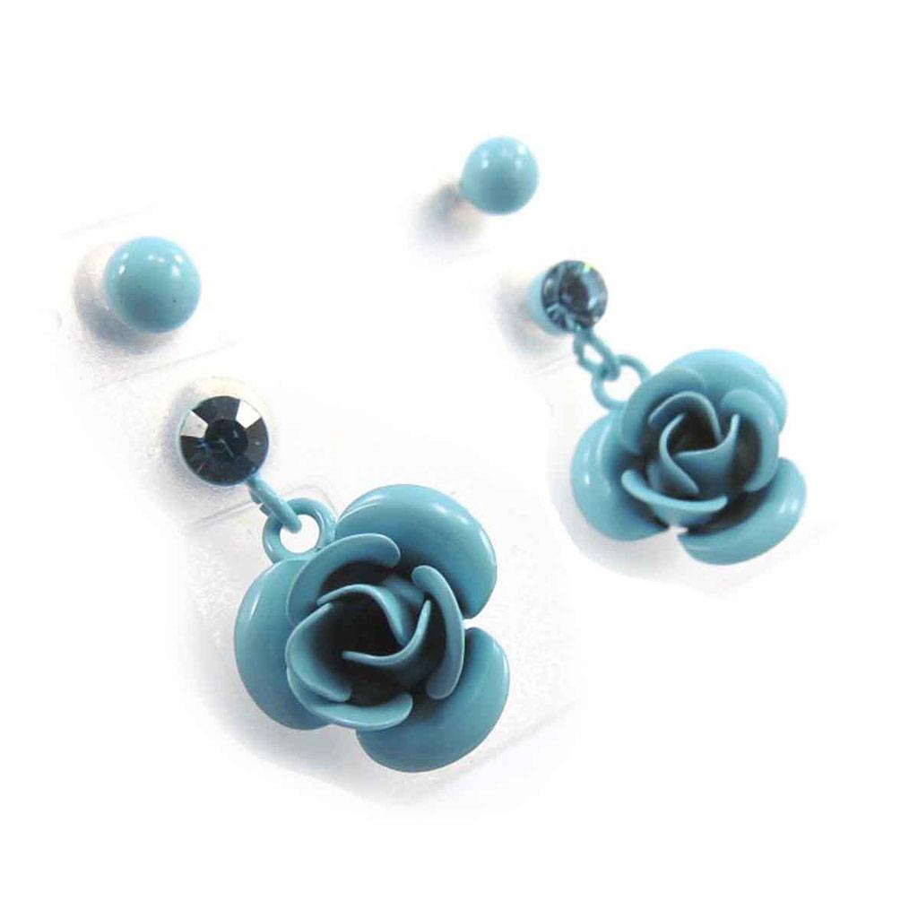 2 paires de boucles \'Rosa Romantica\' bleu  - [J8664]