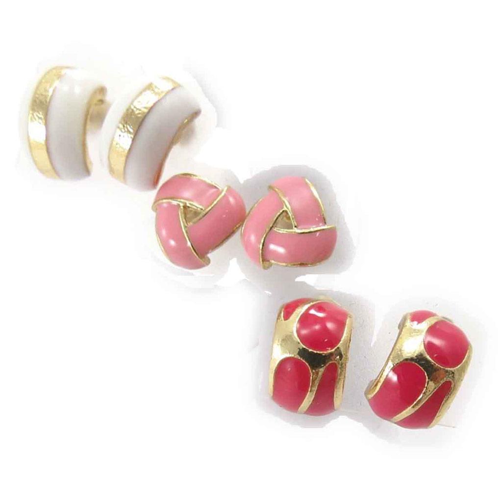 3 paires de demi-créoles \'Scarlett\' blanc rose rouge - [J8668]