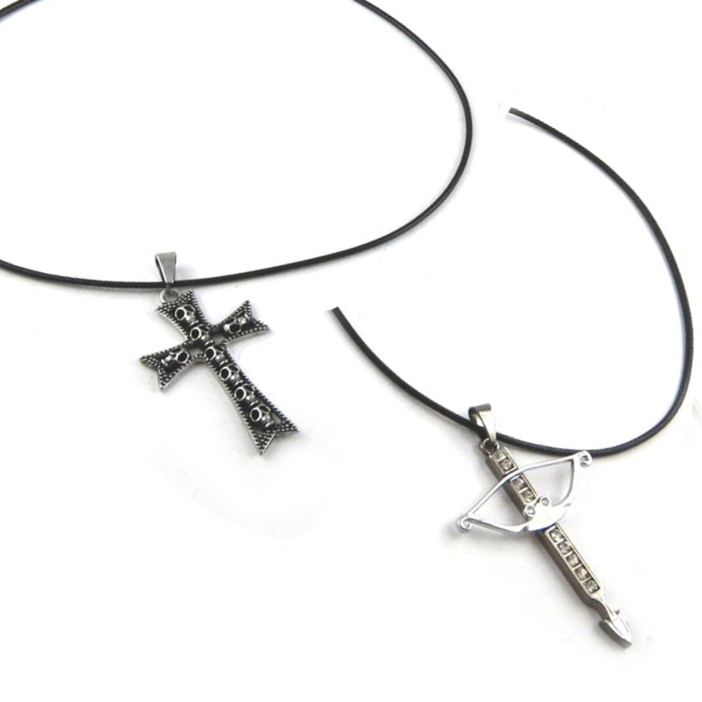 2 colliers créateur \'Peaceful\' acier - [K7106]