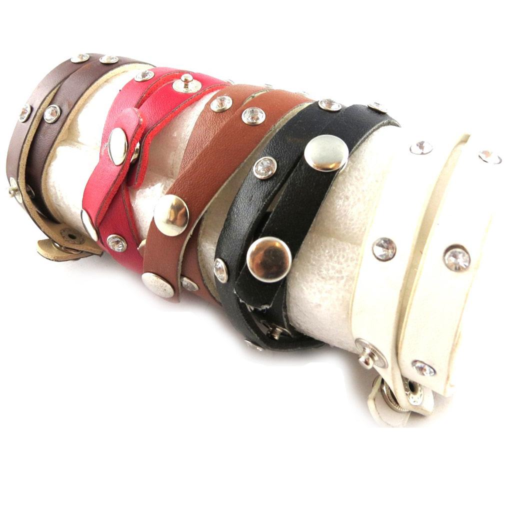 5 bracelets double cuir \'Peaceful\' tutti frutti - [K7110]