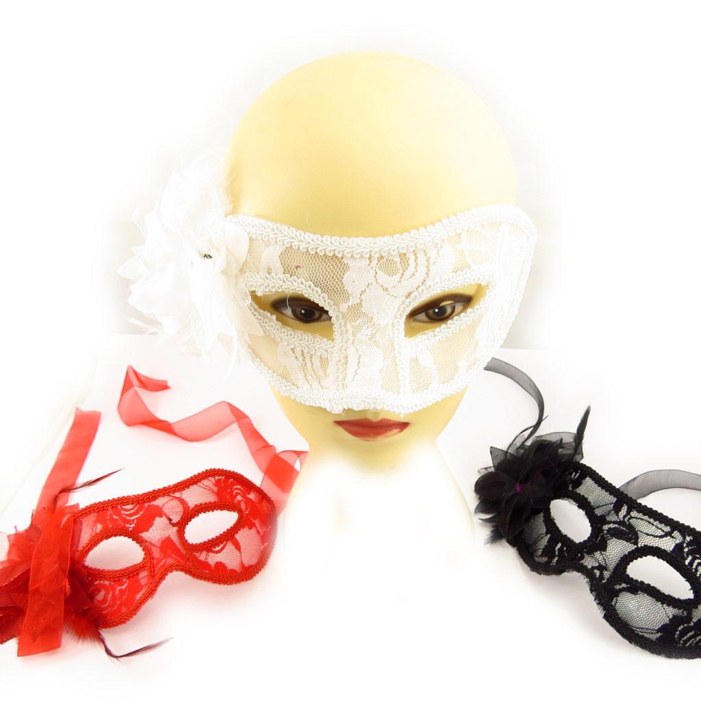 Set de 3 masques \'Carnaval de Venise\' (dentelle) - [K7145]