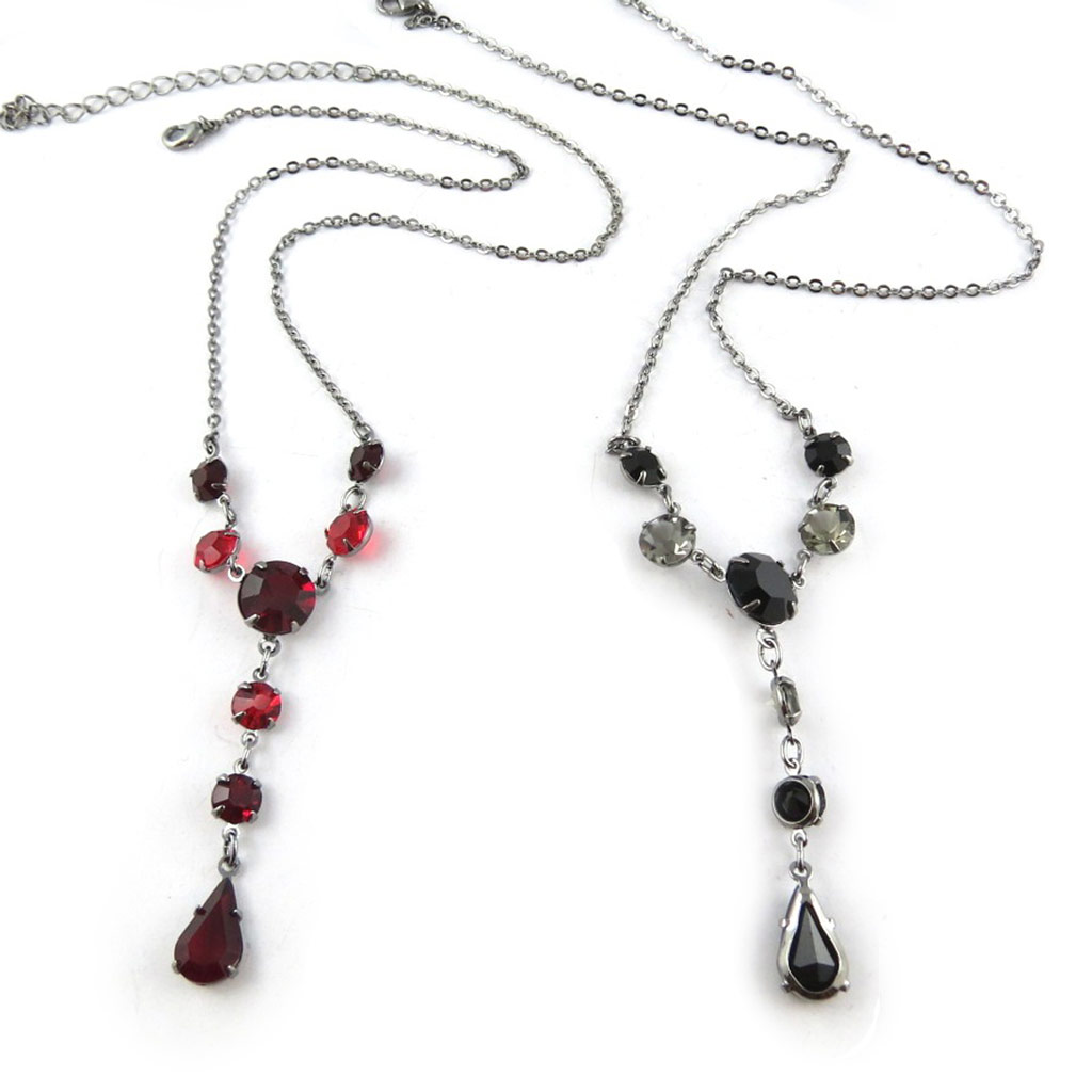 2 colliers créateur \'Sissi\' rouge noir - [K7269]