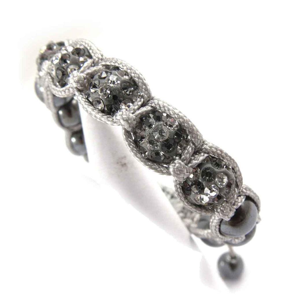 Bracelet ethnique \'Shambhala\' gris - [J8951]