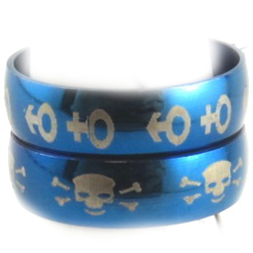 2 bagues acier \'Peaceful\' bleu (motifs aléatoires) - [K7403]