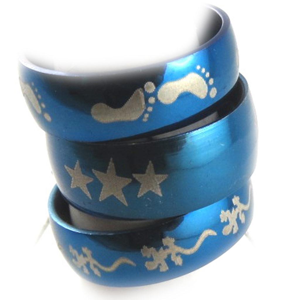 3 bagues acier \'Peaceful\' bleu (motifs aléatoires) - [K7404]