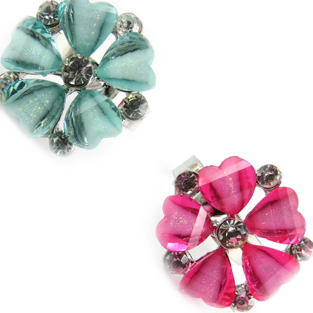 2 bagues cristal \'Princesa\' turquoise rose - [K7409]