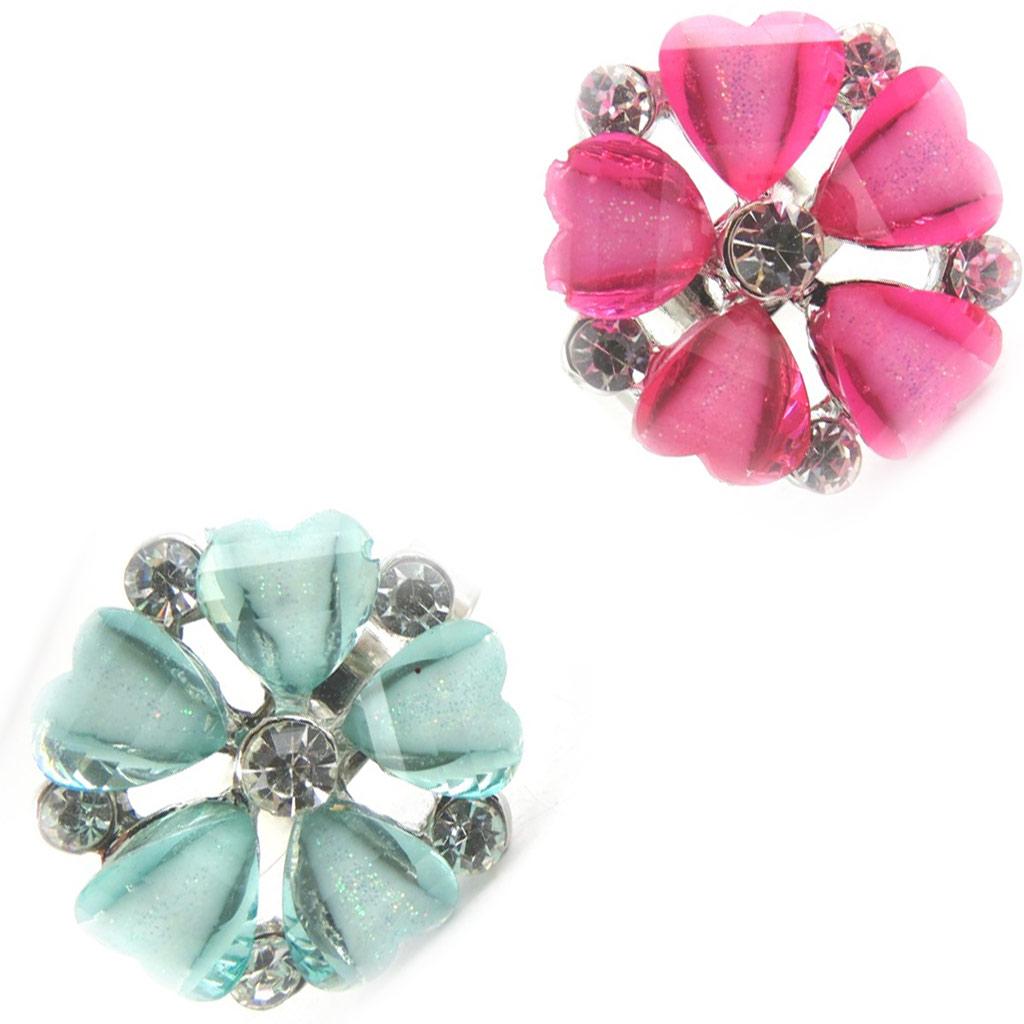 2 bagues cristal \'Princesa\' turquoise rose - [K7410]