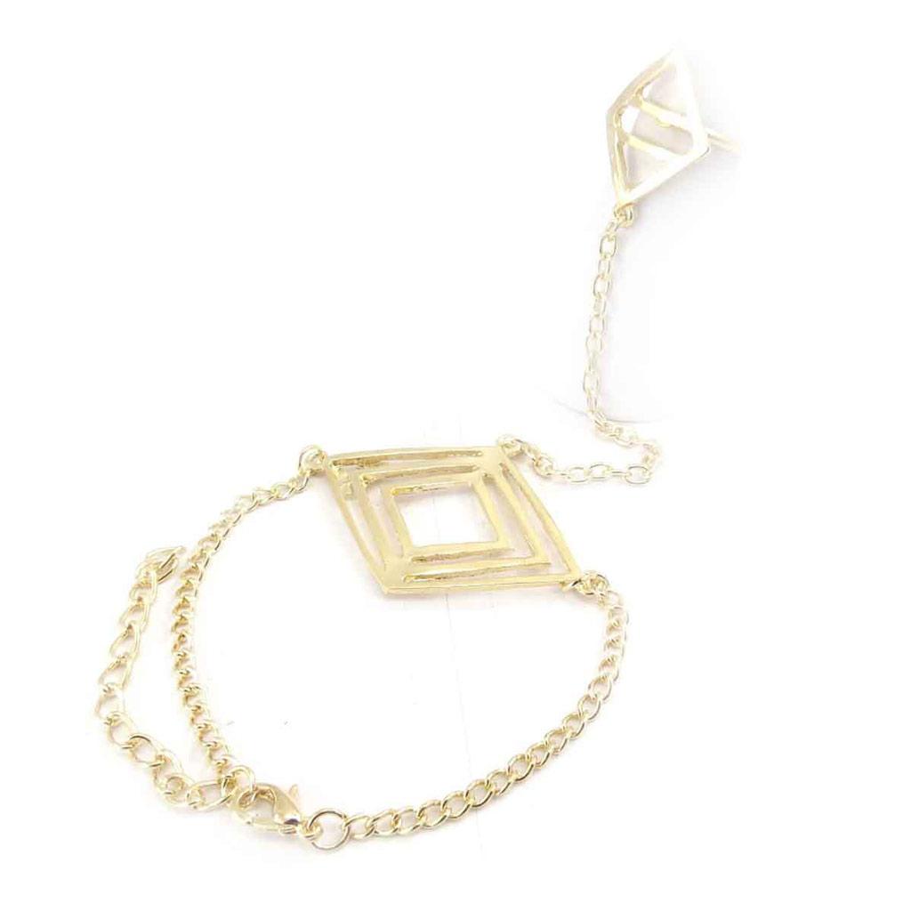 Bracelet bague \'Chorégraphie\' doré - [J9178]