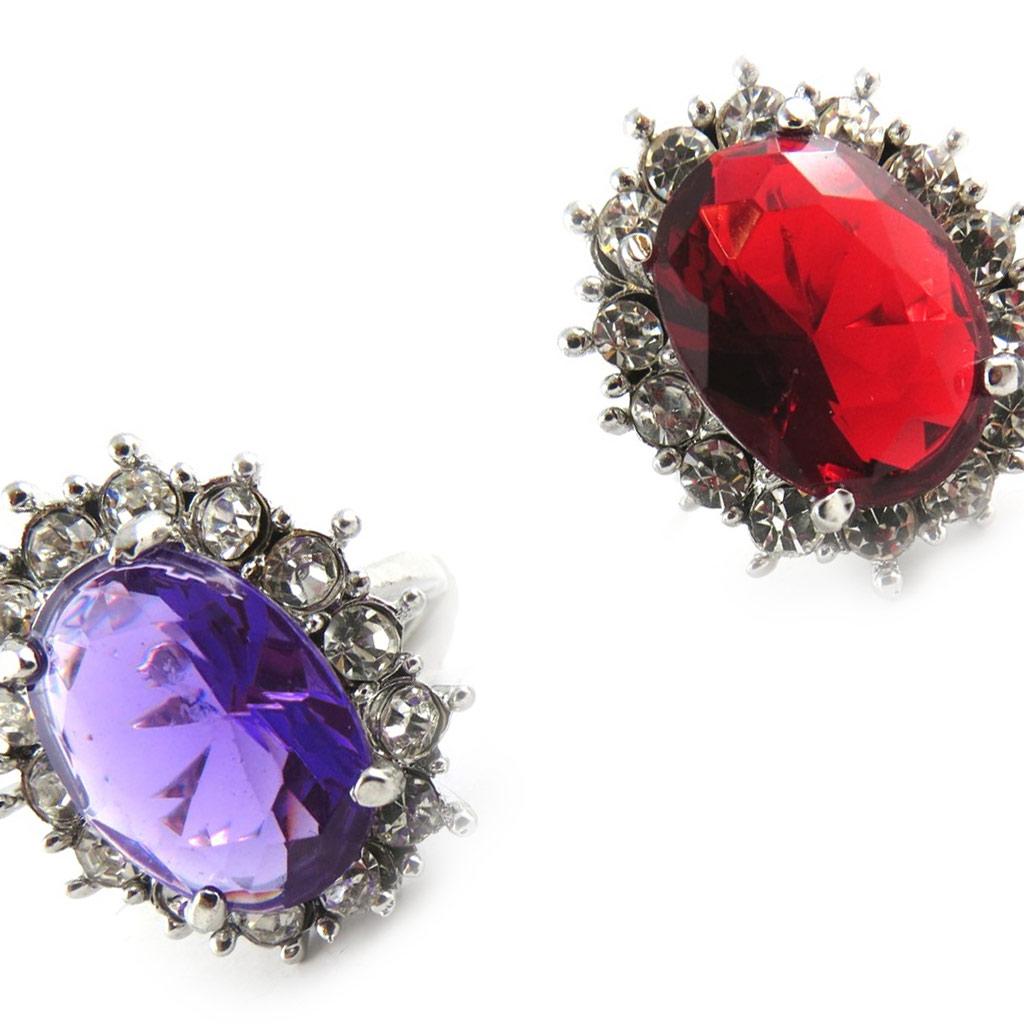 2 bagues cristal \'Scarlett\' violet rouge - [K7418]