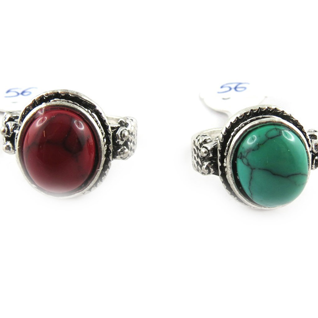 2 bagues \'Mineralia\' rouge vert - [K7433]