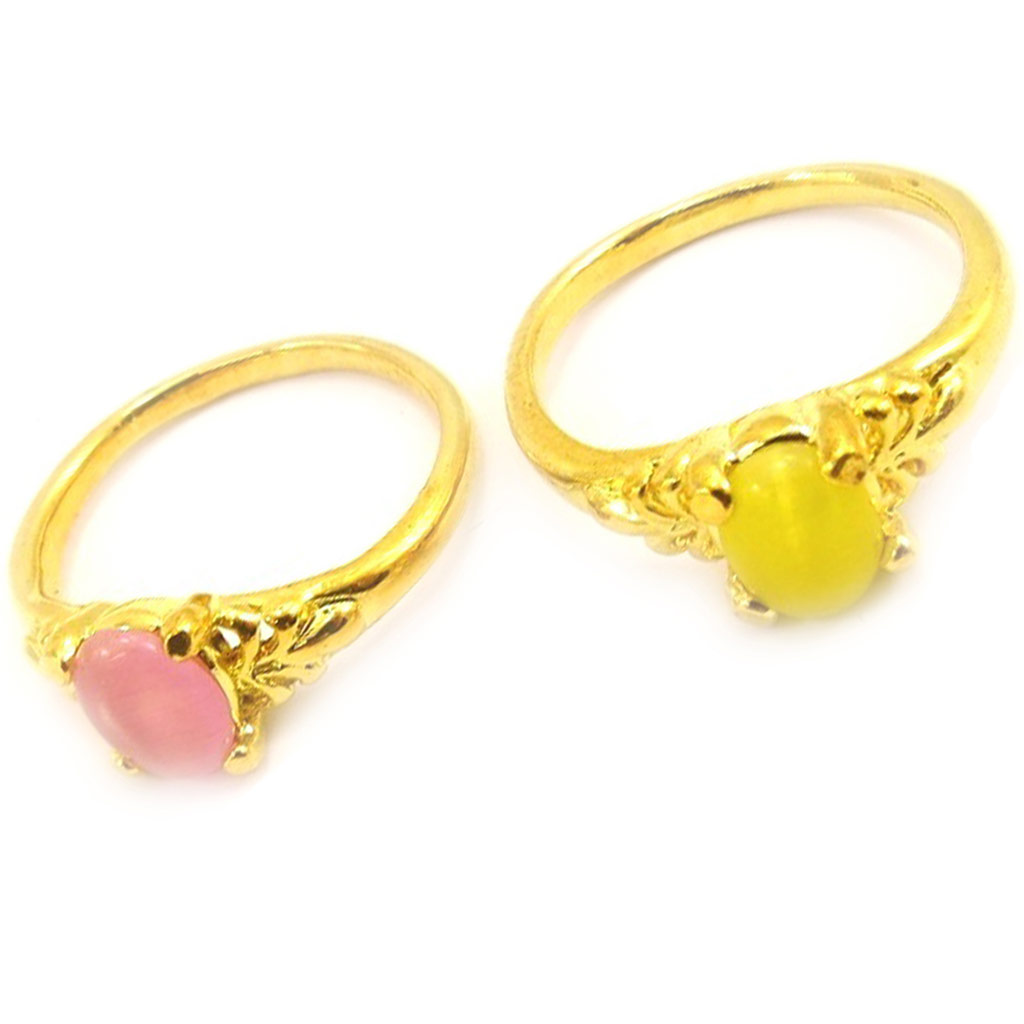 2 bagues \'Scarlett\' rose jaune - [K7442]