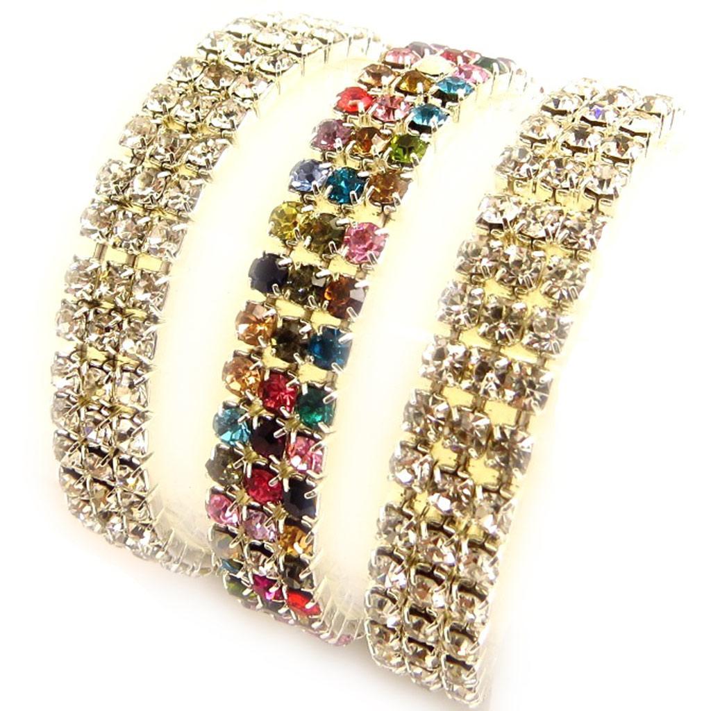 3 bracelets \'Strass\' blanc tutti frutti - [K7456]