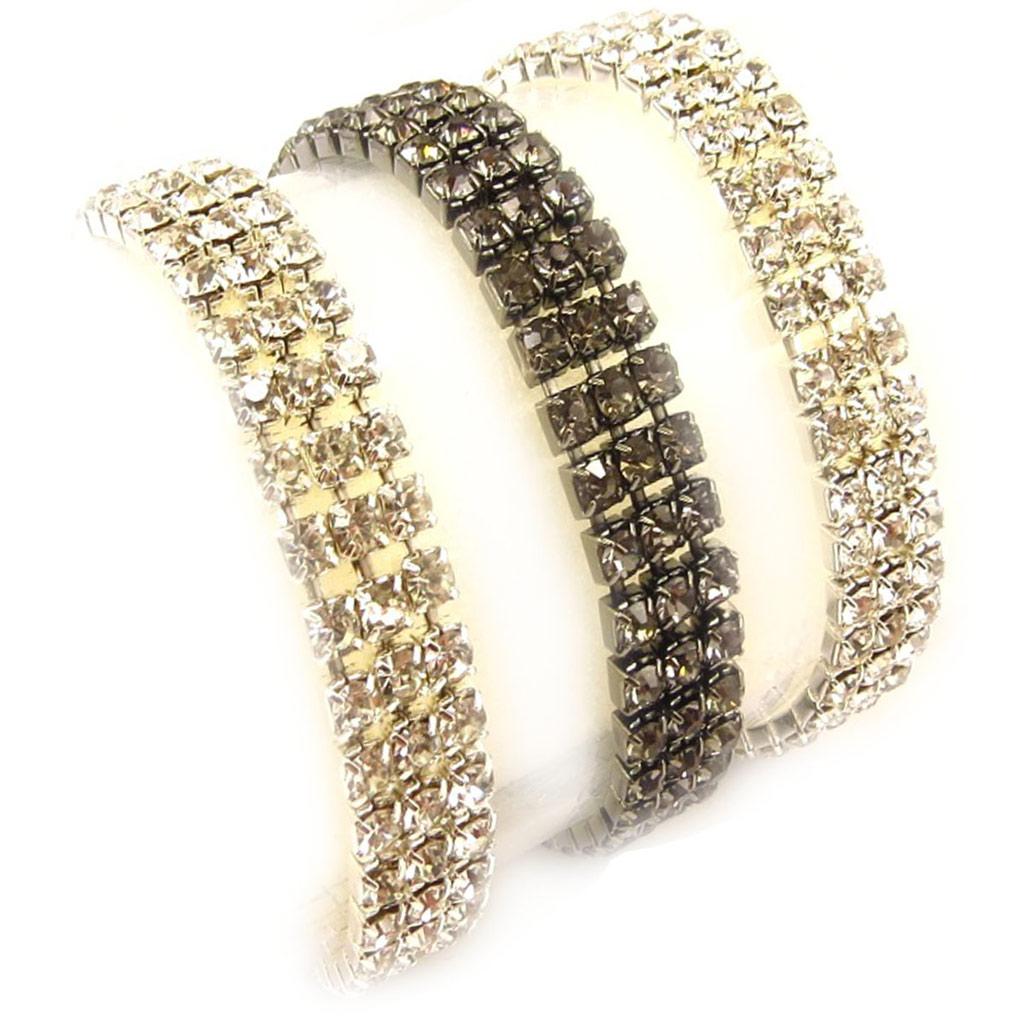 3 bracelets \'Strass\' blanc gris - [K7458]