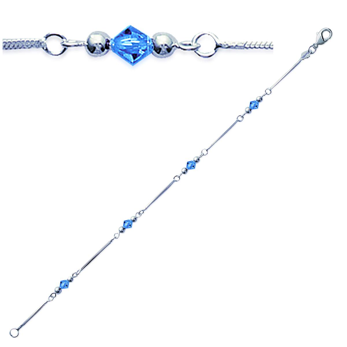 Bracelet Argent \'Clara\' bleu tanzanite argenté - 4 mm - [M7339]