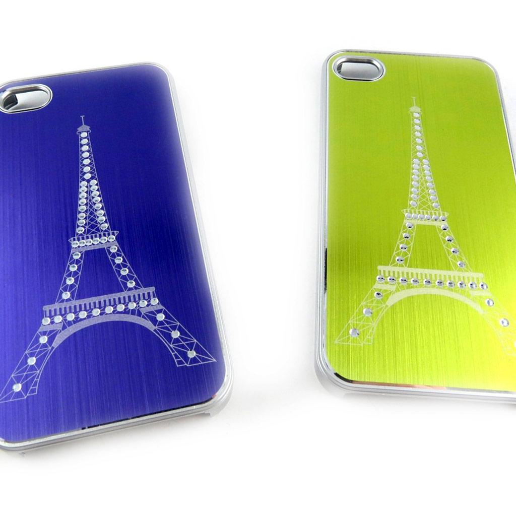 2 coques créateur \'Tour Eiffel\' Iphone 4 4S (violet vert) - [K7493]