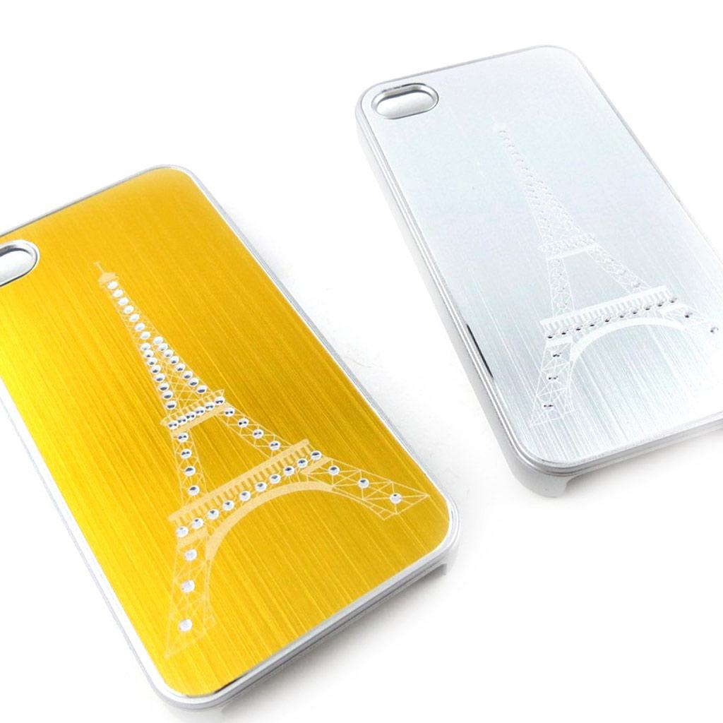 2 coques créateur \'Tour Eiffel\' Iphone 4 4S (doré argenté) - [K7499]