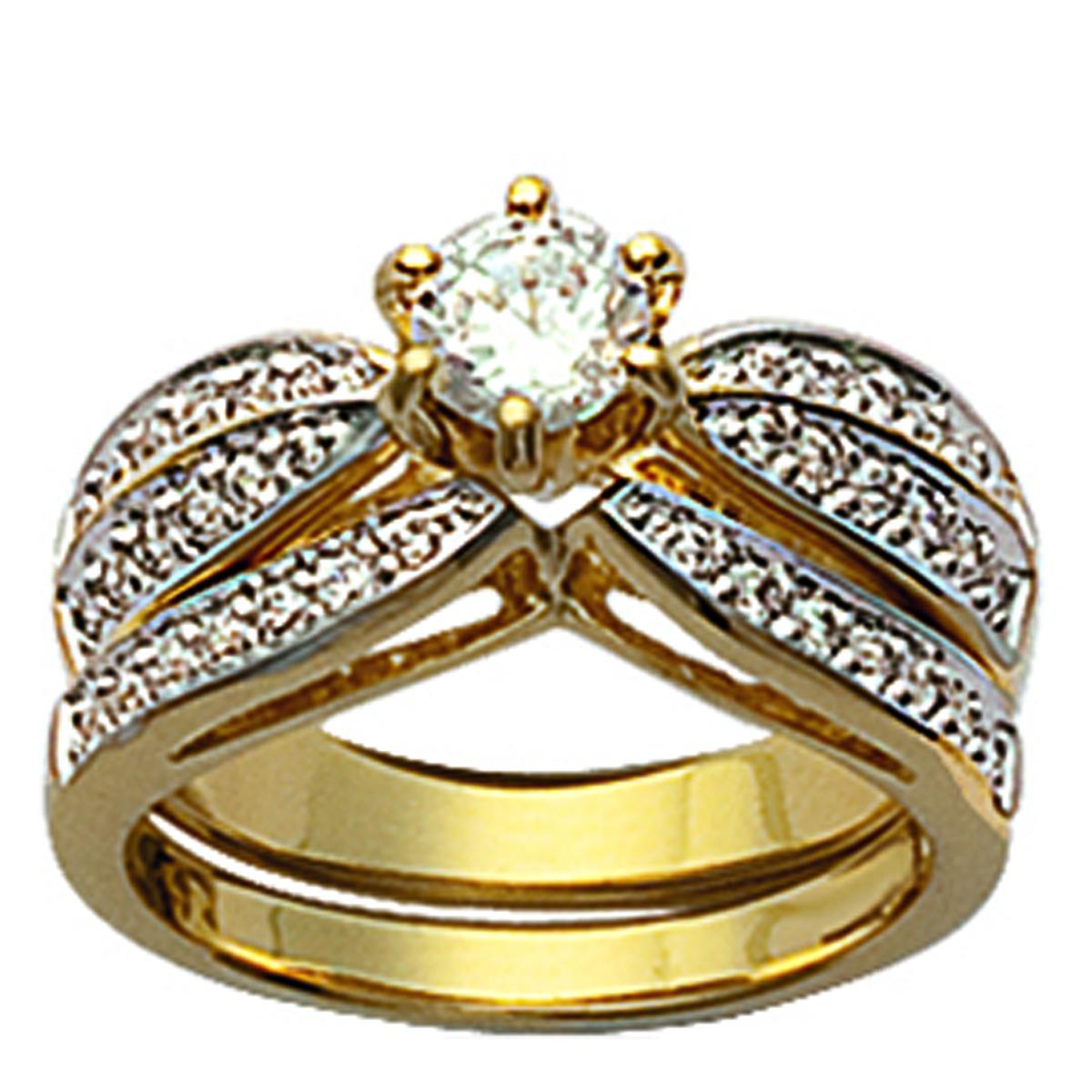 Bague plaqué or \'Pour la Vie\' blanc doré - pierre 5 mm - [K7669]