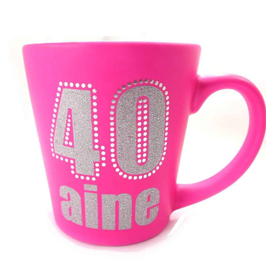 Mug anniversaire \'40 aine\' rose - [J9657]