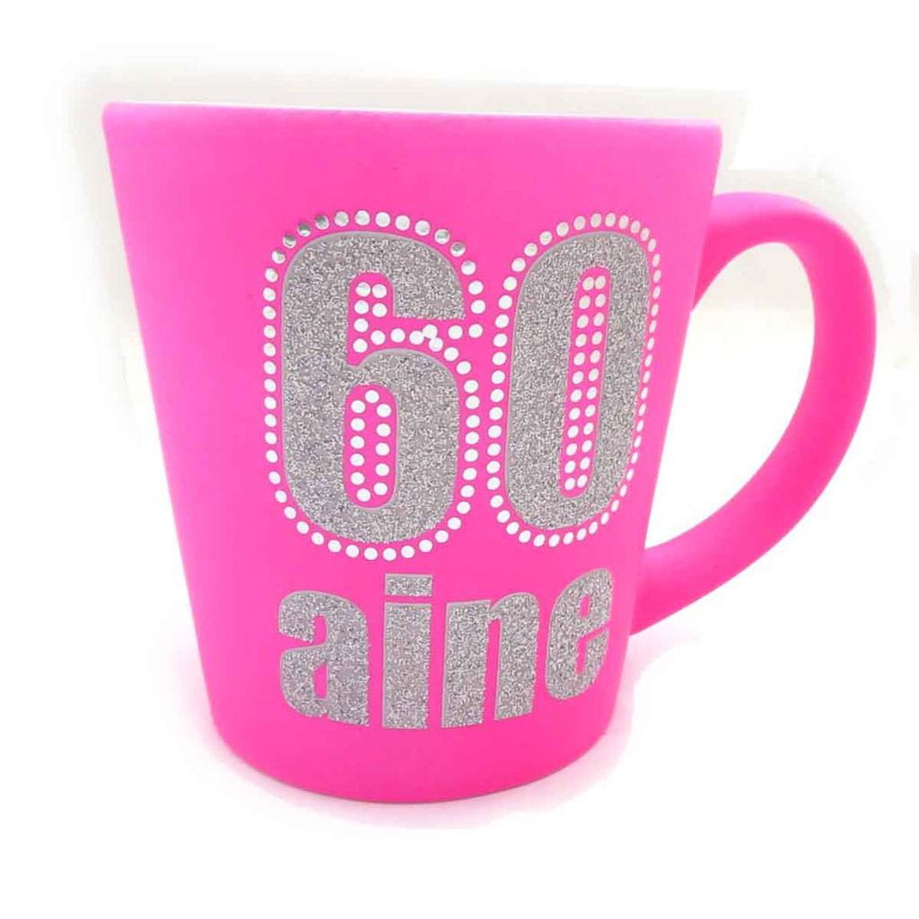 Mug anniversaire \'60 aine\' rose - [J9658]