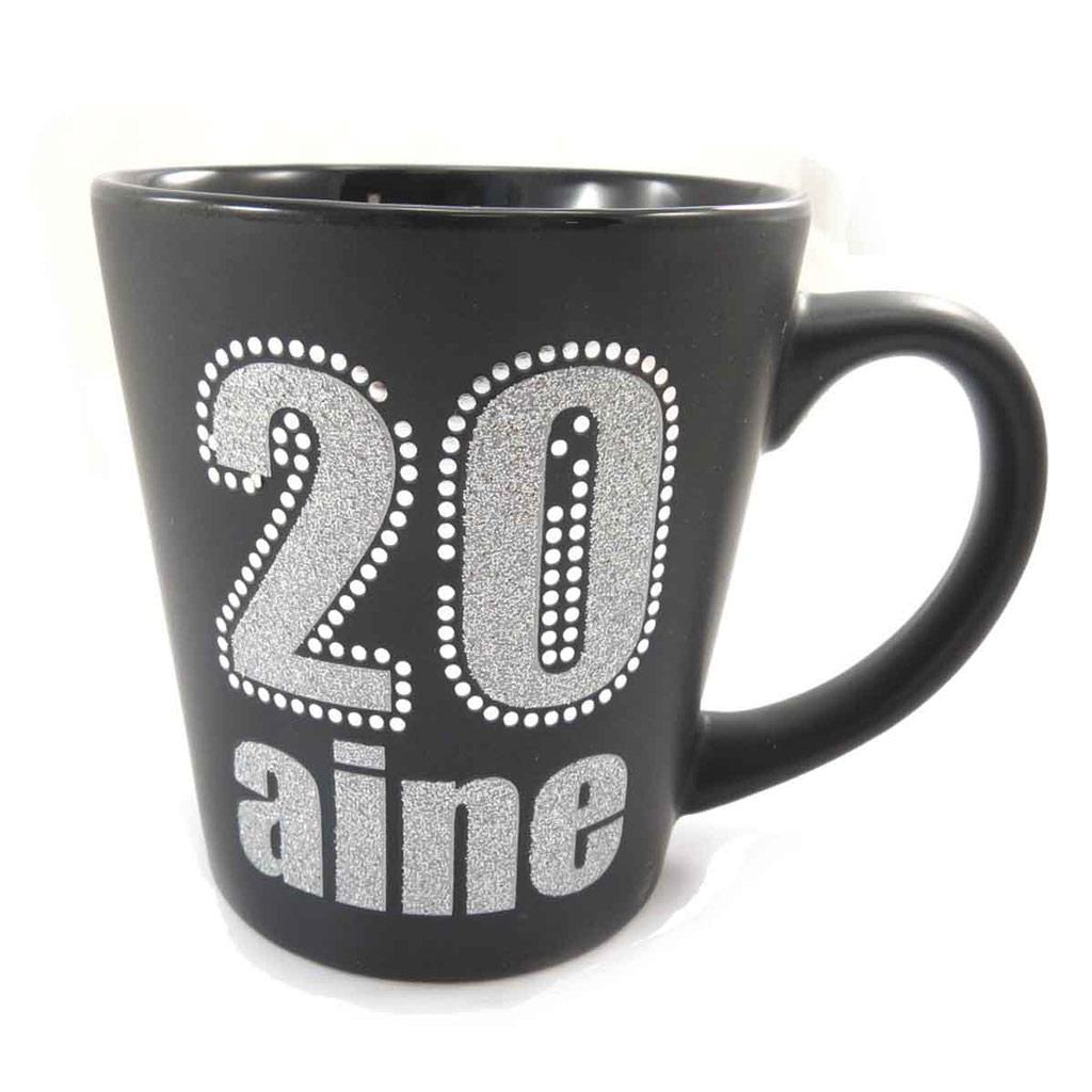 Mug anniversaire \'20 aine\' noir - [J9660]