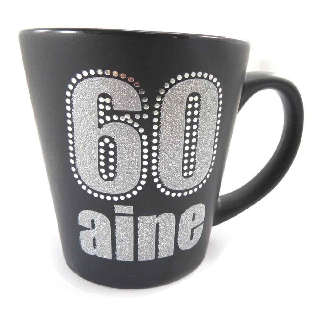 Mug anniversaire \'60 aine\' noir - [J9680]