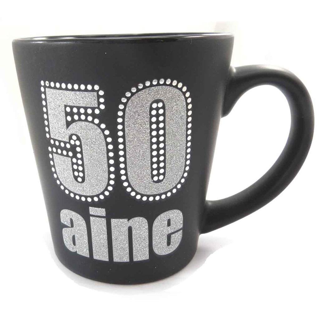 Mug anniversaire \'50 aine\' noir - [J9682]