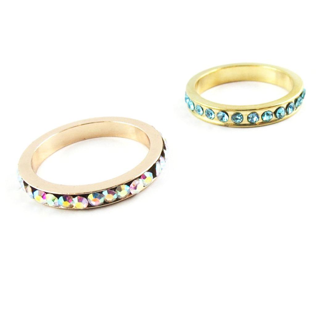 2 alliances cristal \'Sissi\' boréal turquoise - [K8089]