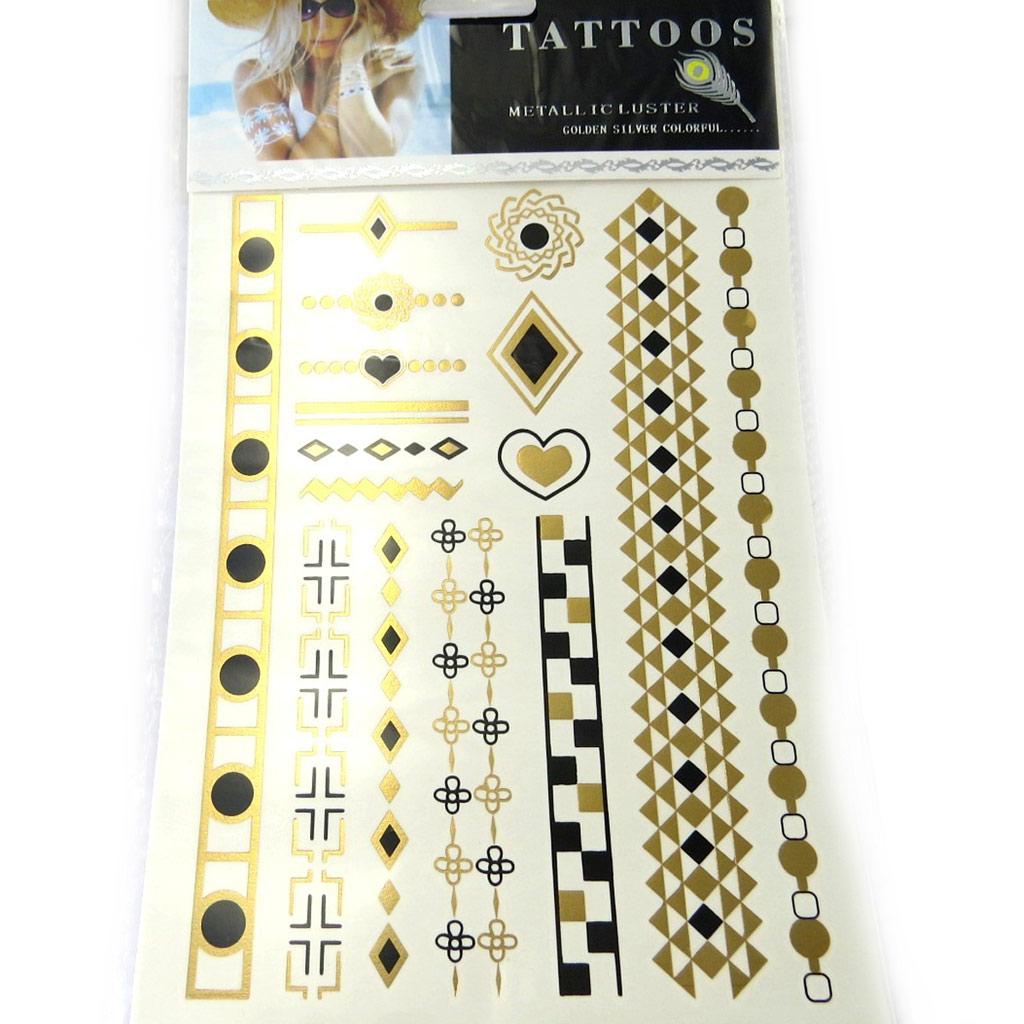 Tatouages bijoux de peau métal \' Cleopatra\' doré argenté - [M8001]