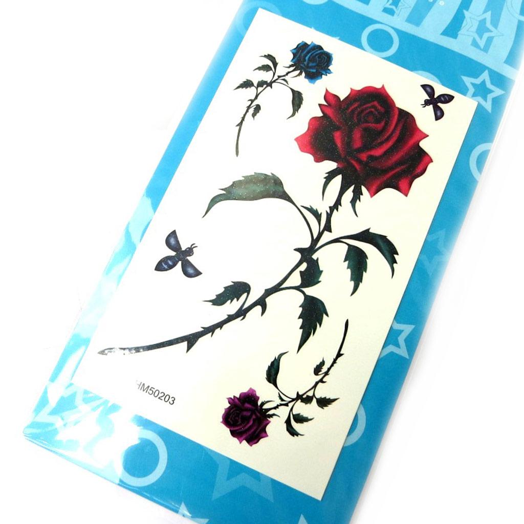 Tatouages bijoux de peau \' Rosa Romantica\' rouge - [M8032]