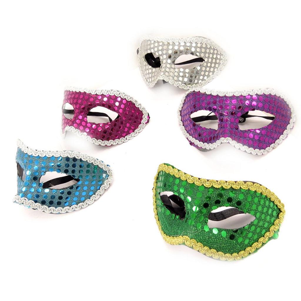 Set de 5 masques \'Carnaval de Venise\' (paillettes) - [K8288]
