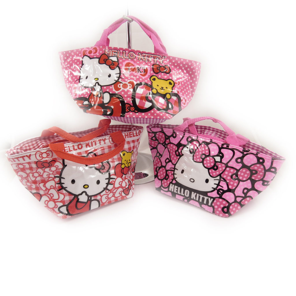 3 sacs shopping \'Hello Kitty\' rose rouge - [K8305]