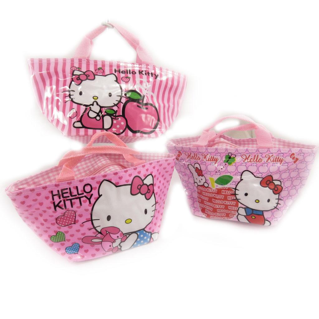 3 sacs shopping \'Hello Kitty\' rose  - [K8307]