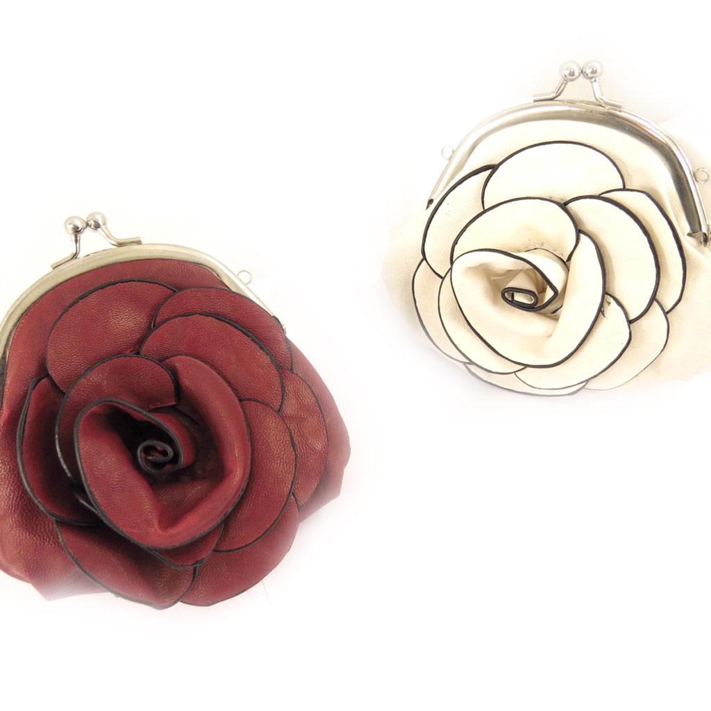 2 petits sacs \'Flora\' bordeaux ivoire - [K8329]
