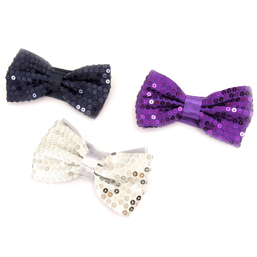3 noeuds papillons \'Disco\' blanc marine violet - [K8389]