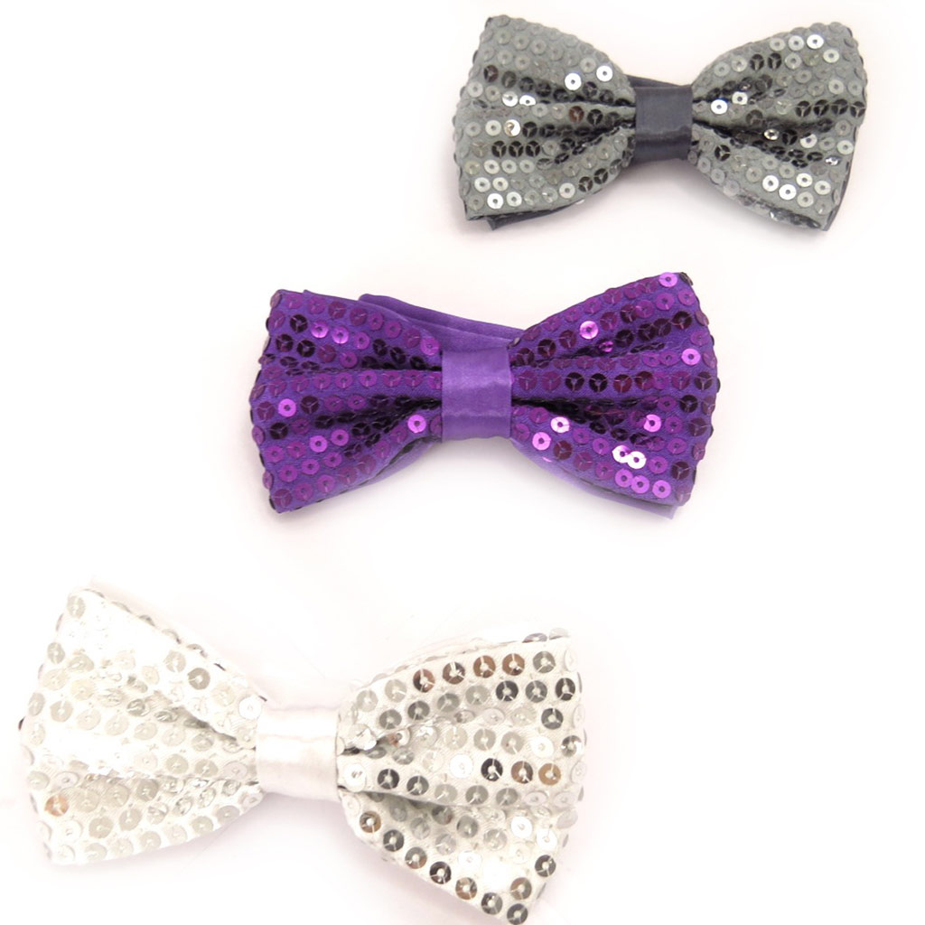 3 noeuds papillons \'Disco\' blanc violet gris - [K8390]