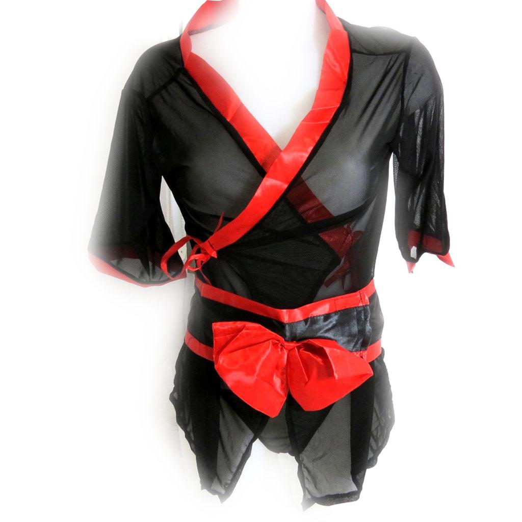 Kimono \'Sexy Geisha\' noir rouge - [K8450]