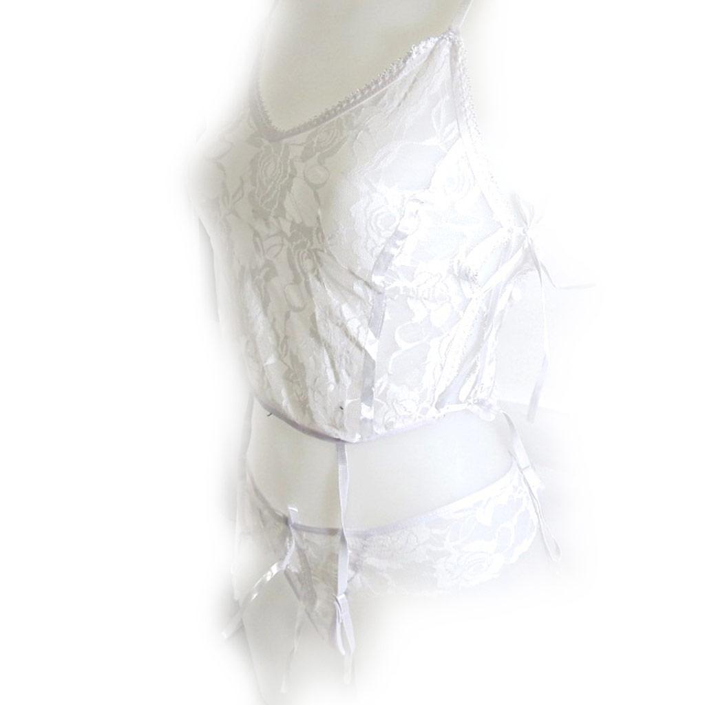 Tenue sexy \'Scarlett\' blanc dentelle - [K8462]