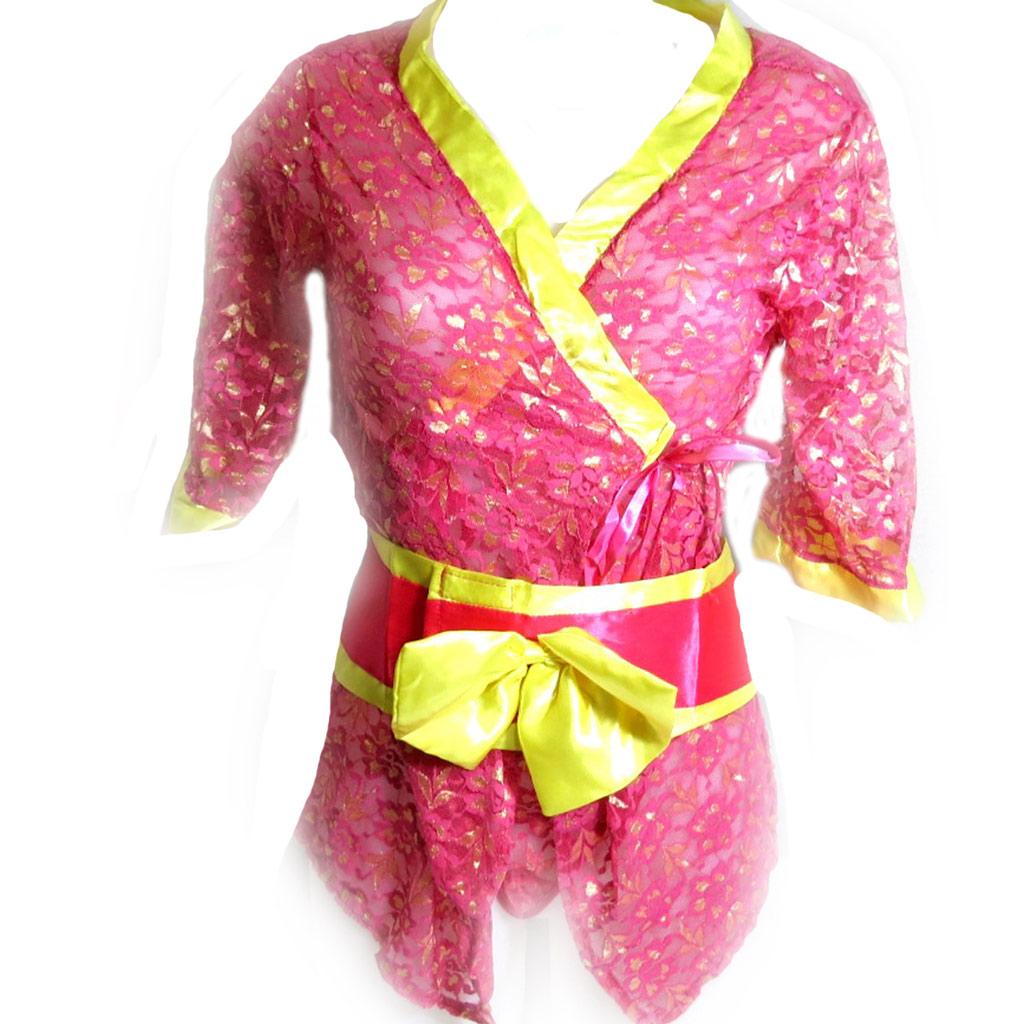 Kimono \'Sexy Geisha\' rose jaune - [K8500]