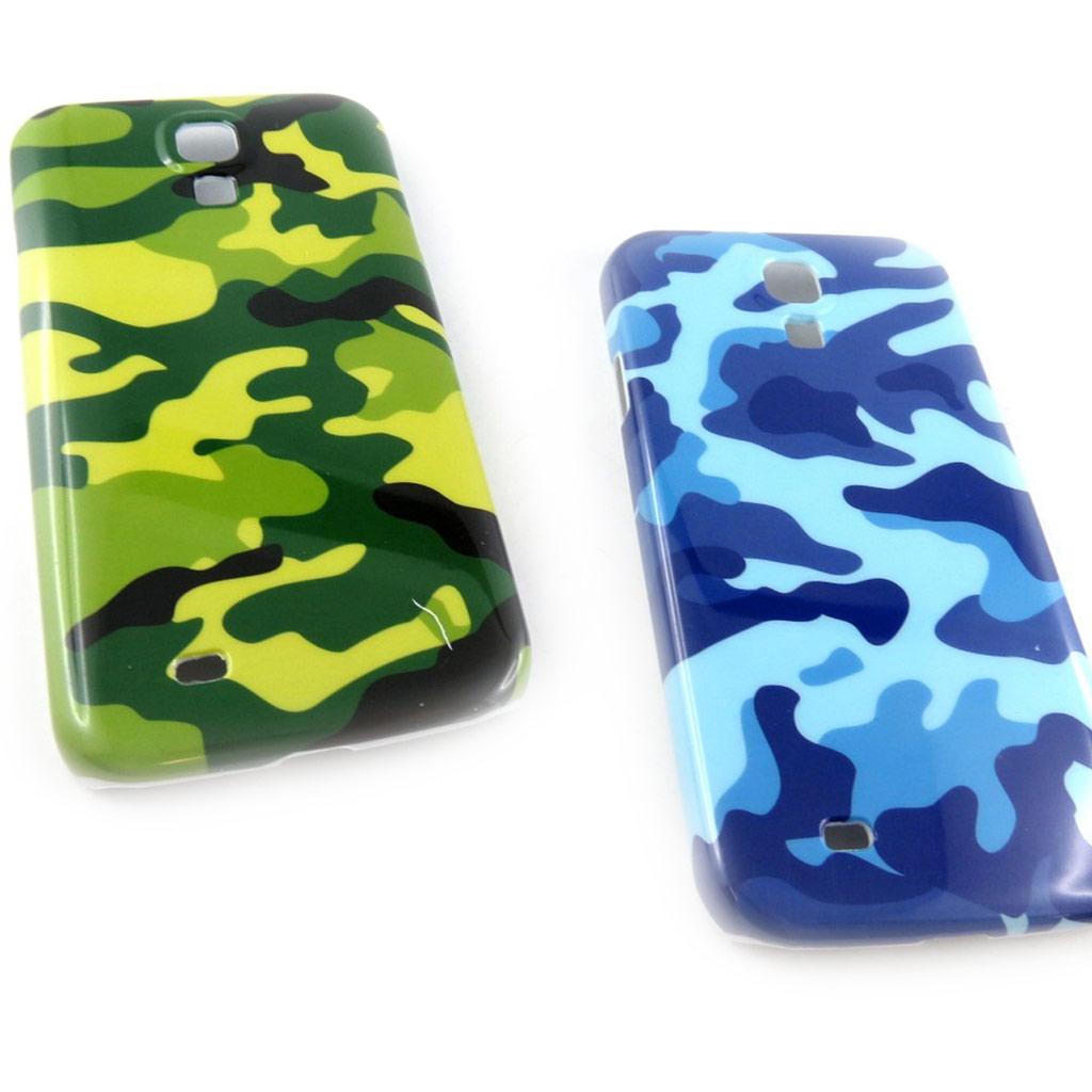 2 coques créateur \'Camouflage\' Samsung S4, I9500 (vert bleu) - [K8516]