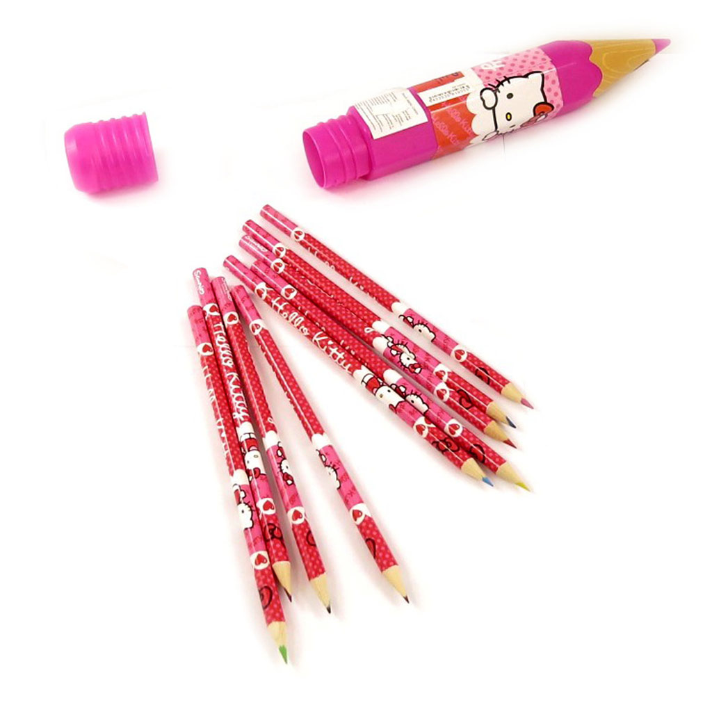 9 crayons de couleur \'Hello Kitty\' + range crayons - [K8679]