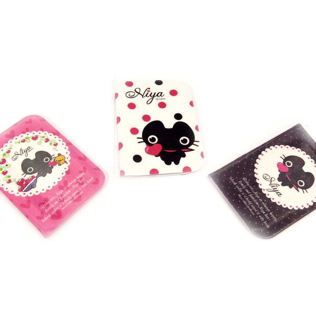 3 porte-cartes \'Chat Noir\' rose blanc noir - [K8976]