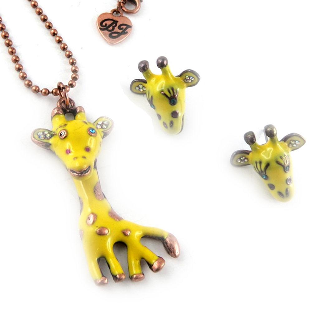 Parure créateur \'Girafes\' jaune doré - [K9219]