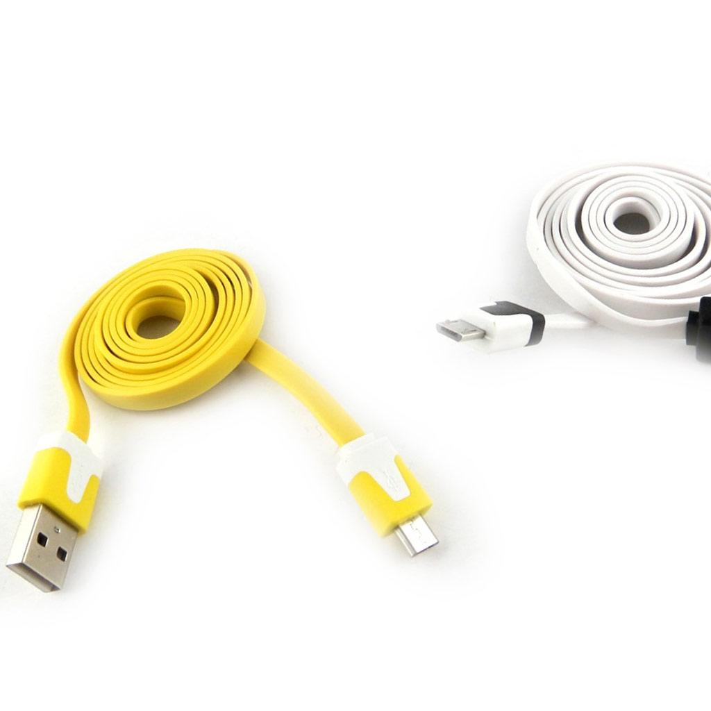 2 cables USB téléphones \'Coloriage\' jaune blanc (1m) - [K9281]