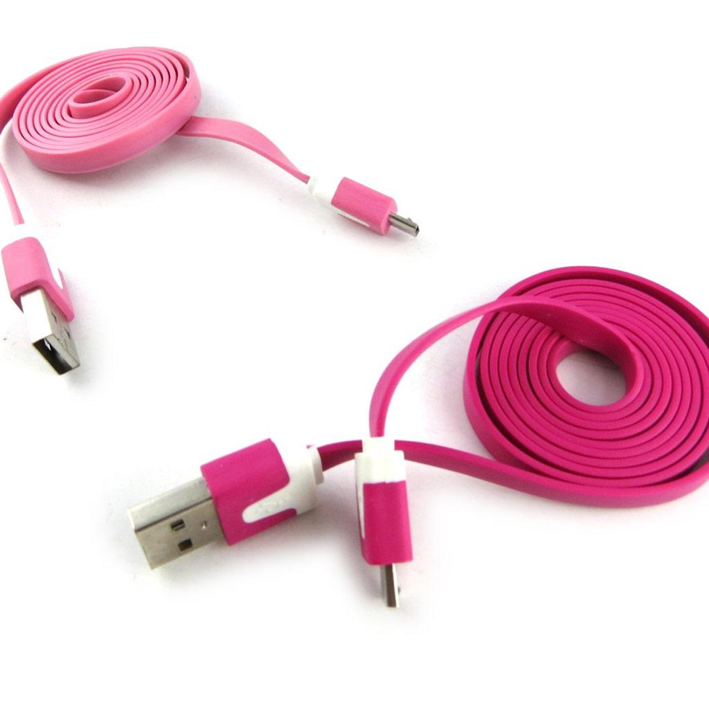 2 cables USB téléphones \'Coloriage\' rose fuschia (1m) - [K9285]
