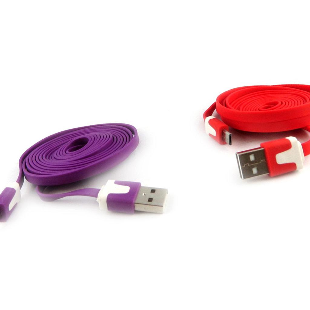 2 cables USB téléphones \'Coloriage\' violet rouge (2m) - [K9287]