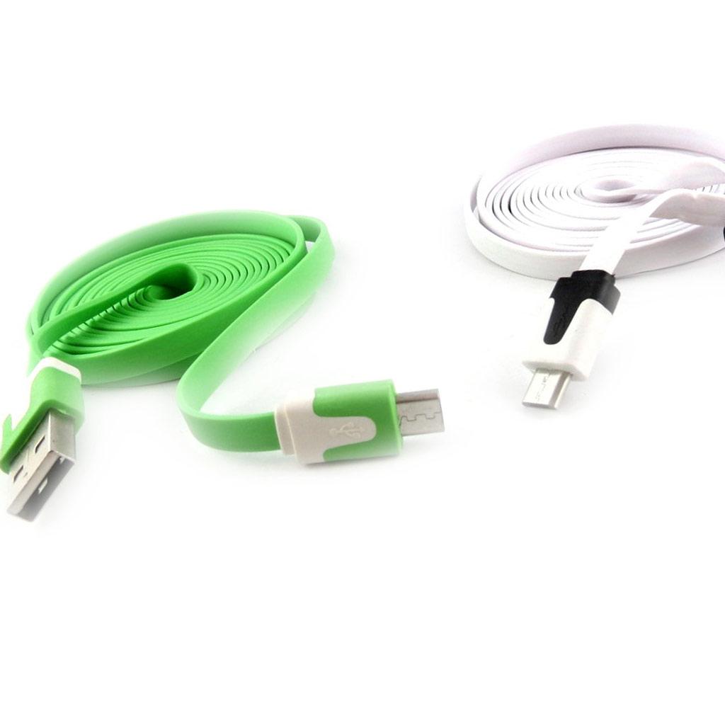 2 cables USB téléphones \'Coloriage\' vert blanc (2m) - [K9289]